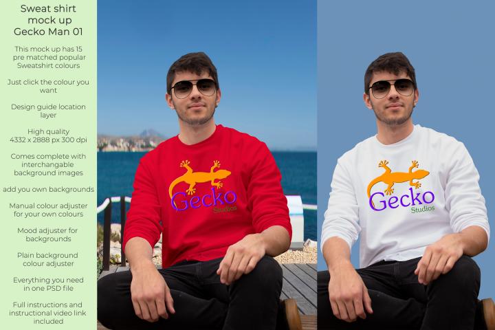 Gecko Man 1 Sweatshirt mock up