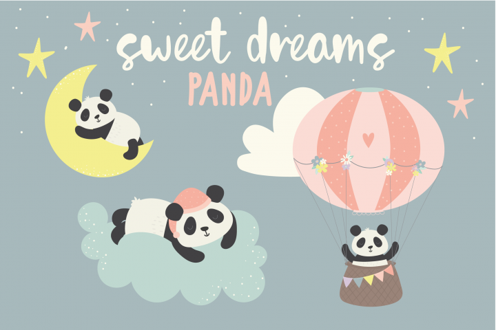 Sweet Dreams Panda, clipart and paper pack