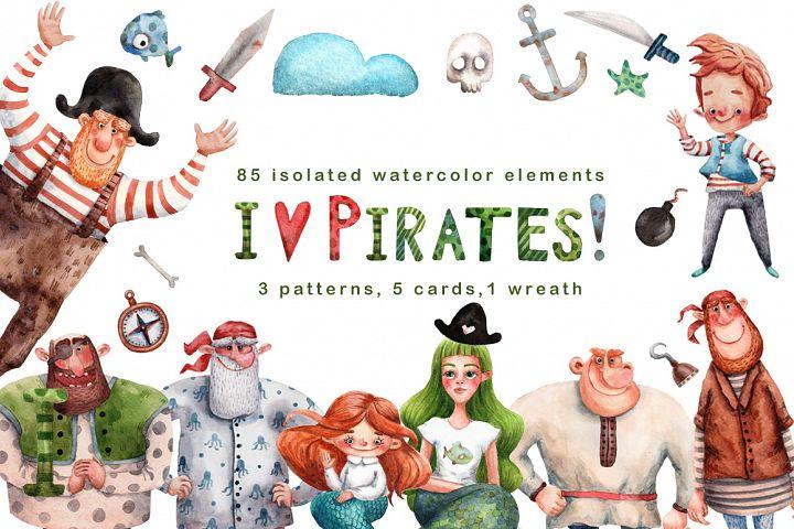 I Love Pirates! - Watercolor Clip Art Set
