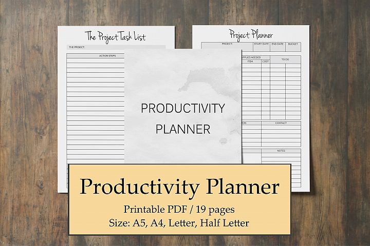 Time Management Planner, Productivity Planner Printable