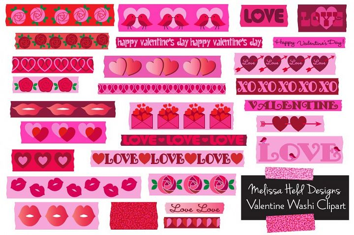 Valentines Day Washi Tape Clipart