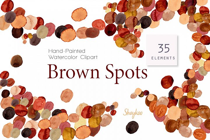 Brown Watercolor Spots Clipart, Handpainted Dots in Brown