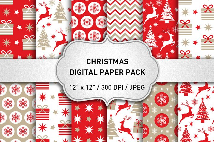 Red Christmas Digital Paper / Christmas Backgrounds