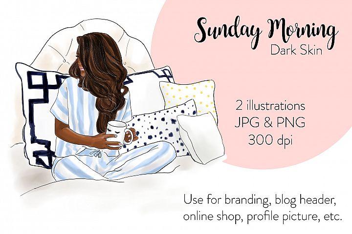 Fashion illustration - Sunday Morning - Dark Skin