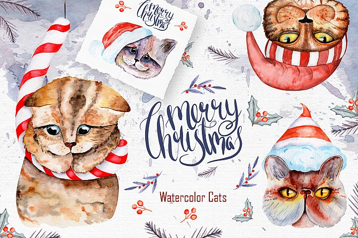 Christmas CATS Watercolor Clipart