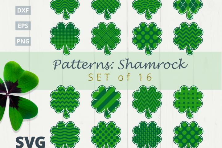 Pattern Shamrock Set of 16 SVG Bundle SVG  DXF  EPS  PNG