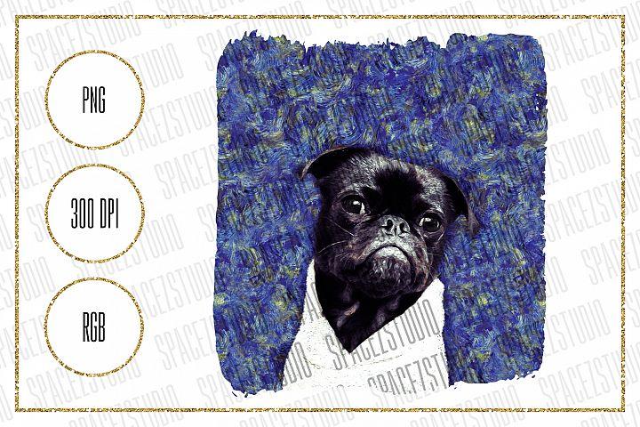 Van Gogh Pug Design For Sublimation - Dog PNG Design