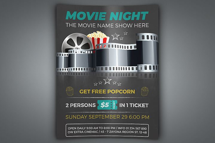 Movie Night - Movie Time Flyer Template