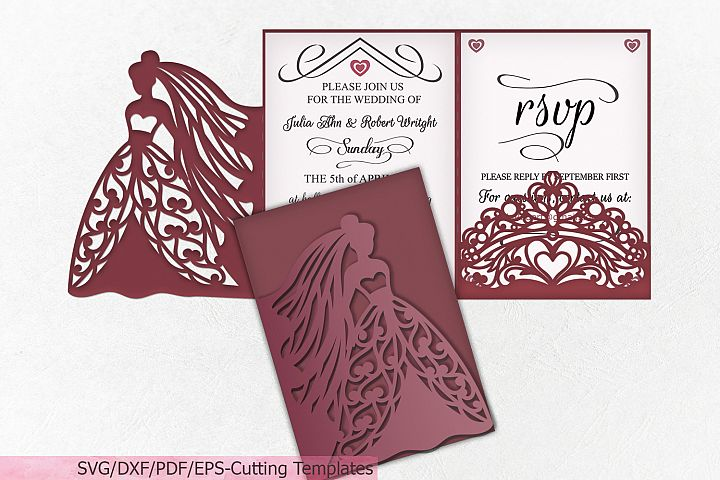 Princess Bride Princess Crown Wedding Trifold template svg