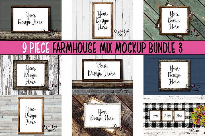 Wood Signs Mockup Bundle - 9 Wood Frames Farmhouse Mix 3