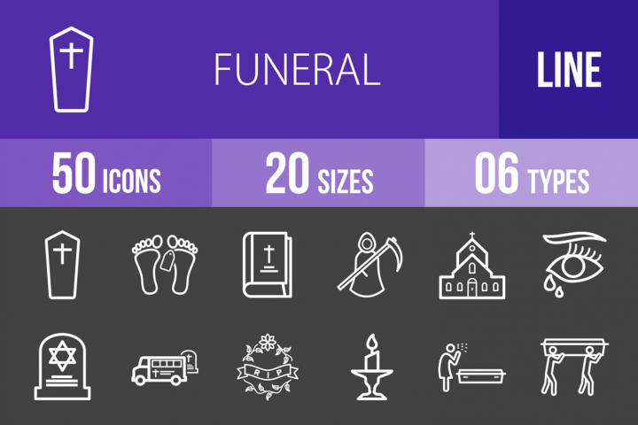 50 Funeral Line Inverted Icons