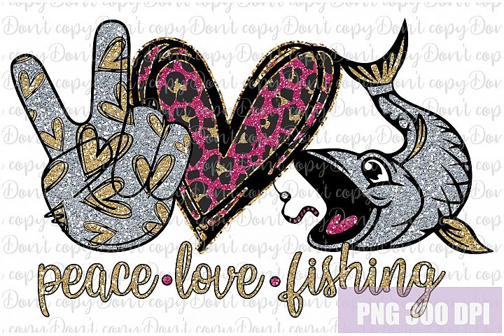 Peace love fishing png, fish clipart, hunting png