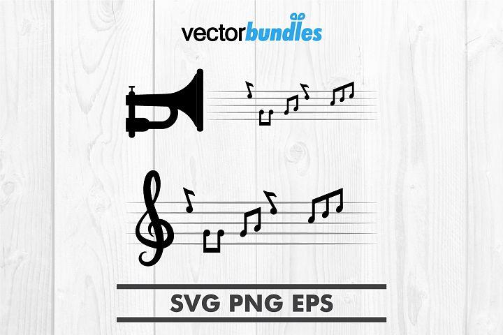 Music notes clip art svg