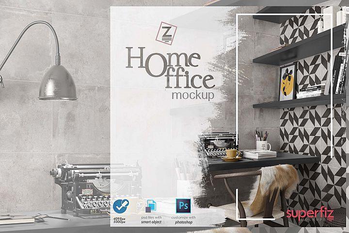 Blank Wall Mockup Home Office SM74