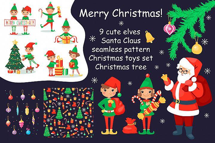 Christmas cartoon set with elves and Santa Clause