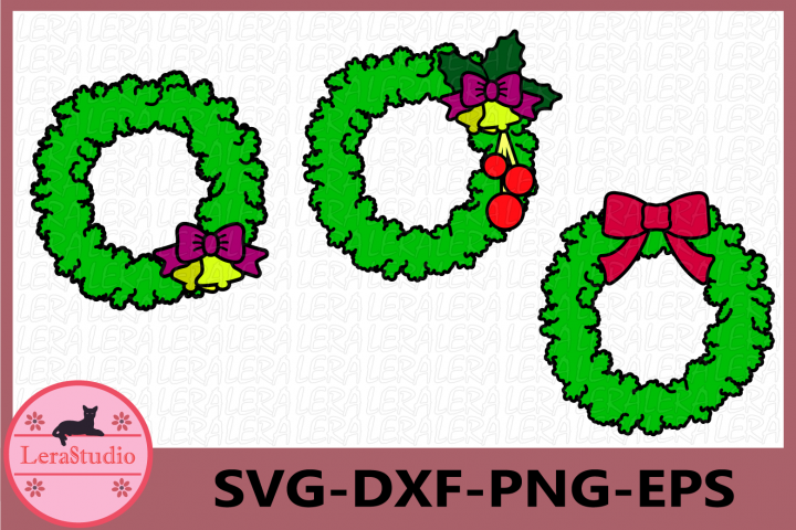 Christmas Wreaths SVG, Instant Download Svg, Xmas Wreath Svg