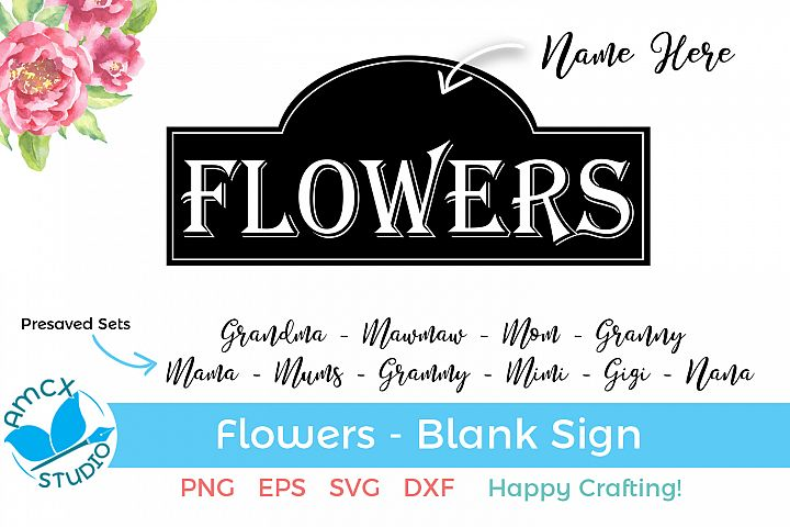 Fresh Flowers - A Personalized Blank SVG Craft File