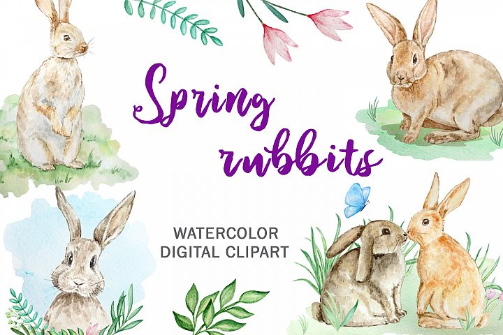 Watercolor Spring Rabbit Clipart Set