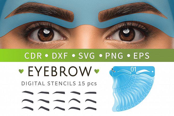 15 Eyebrow stencils SVG, Makeup stickers, Face mask
