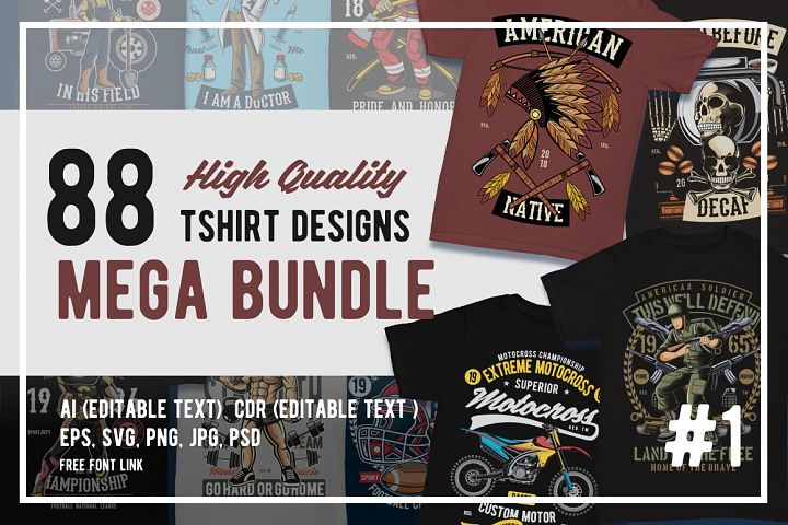88 Tshirt Designs Mega Bundle #1