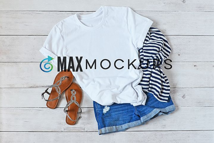 White t-shirt mockup summer sandals shorts, flatlay display