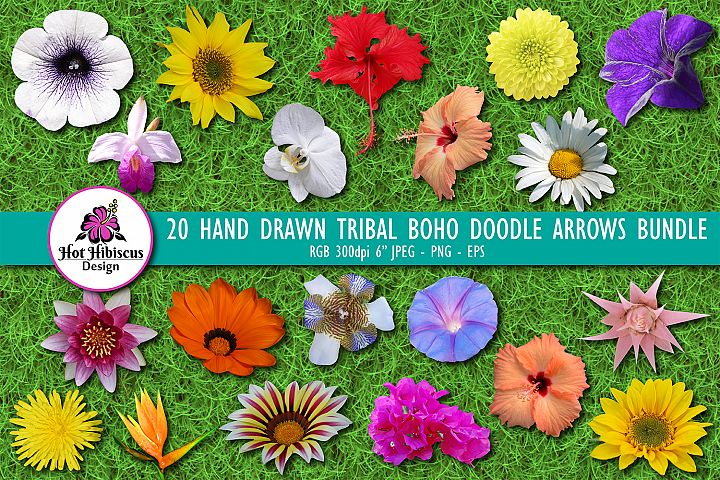 20 Scrapbooking Garden and Tropical Flowers Pack