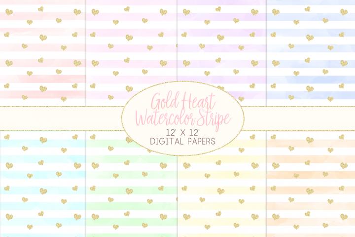 Gold Heart Watercolor Stripe Pattern Digital Papers