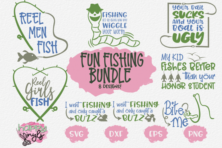 Fishing Designs Bundle with 8 Designs - A Fishing SVG Bundle