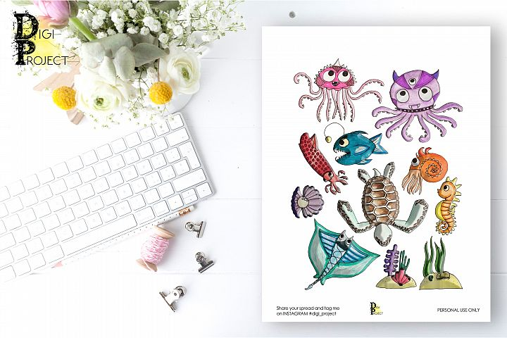 Printable Ocean Creatures Planner Stickers, Hand Painted
