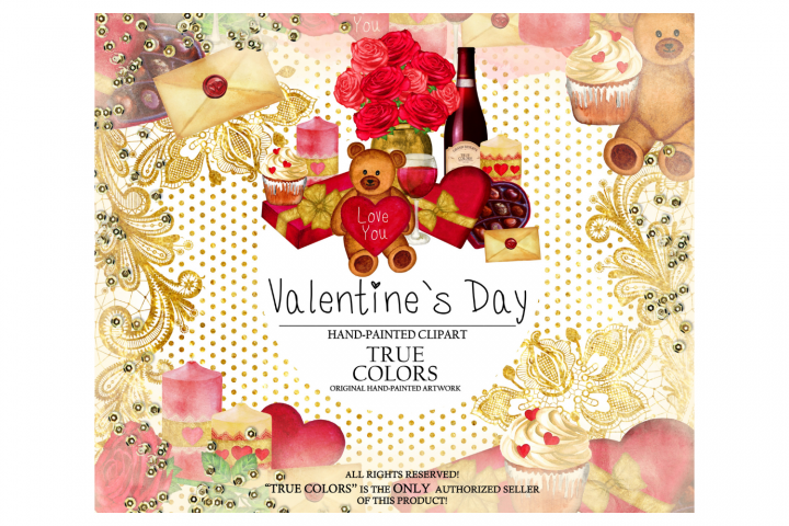 Valentines Day Clip Art Watercolor Hand-Painted