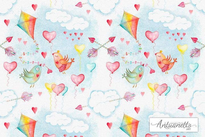 Watercolor sky cute seamless pattern