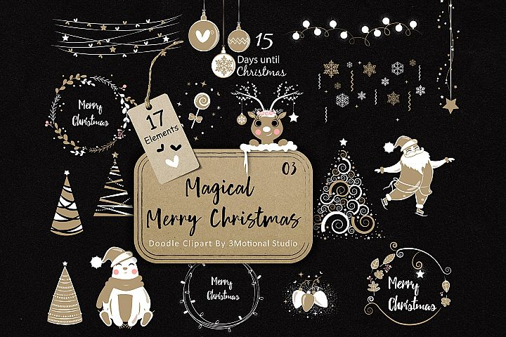 Magical Merry Christmas Doodle Clip Art 03