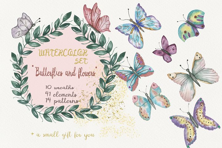 Watercolor set Butterflies and Flowers.