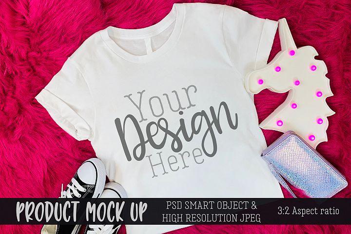 Youth shirt pink unicorn Craft MOCKUP | PSD & JPEG