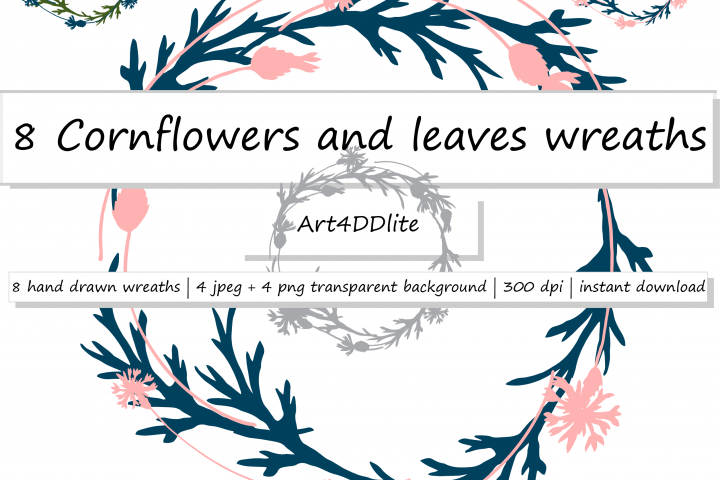 Cornflowers and Leaves Wreaths Clipart