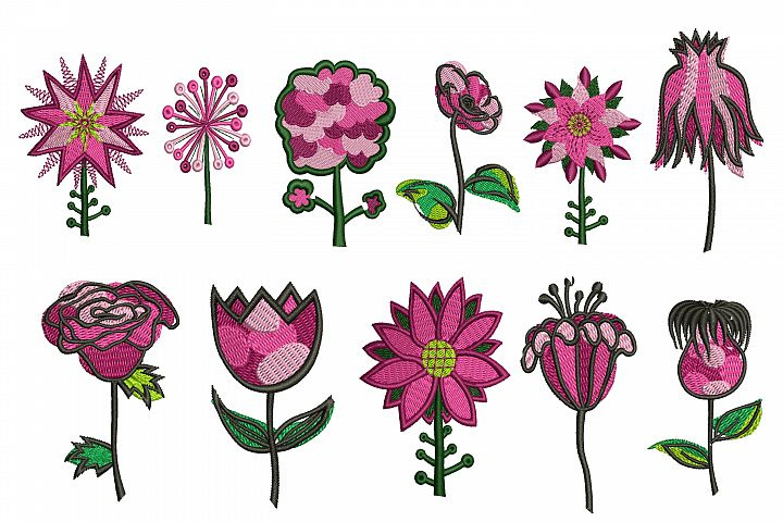 11 Flowers Embroidery Designs Bundle - machine embroidery