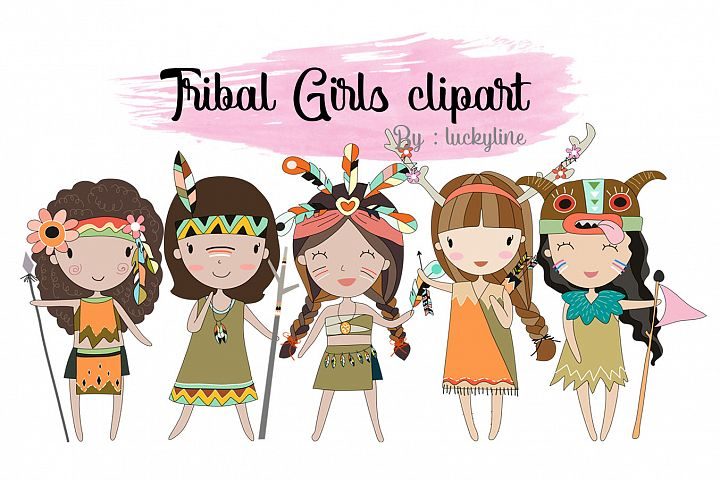 Tribal girls , girl Clipart Instant Download PNG file - 300