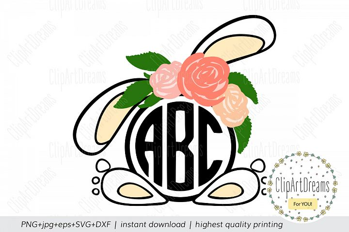 Bunny Flower Frame SVG, Easter Circle Floral Monogram