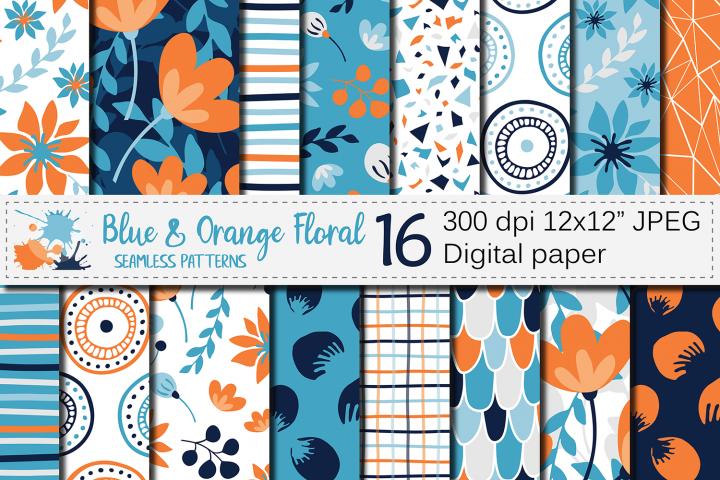 Blue and orange floral seamless digital paper, patterns