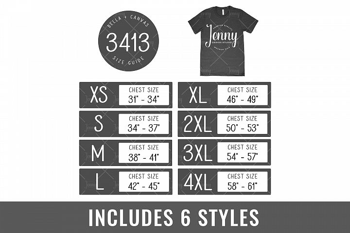 Bella Canvas 3413 Tshirt Size Chart Mockup