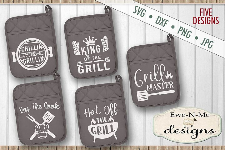 Grilling BBQ Themed Pot Holder Bundle - Fathers Day SVG
