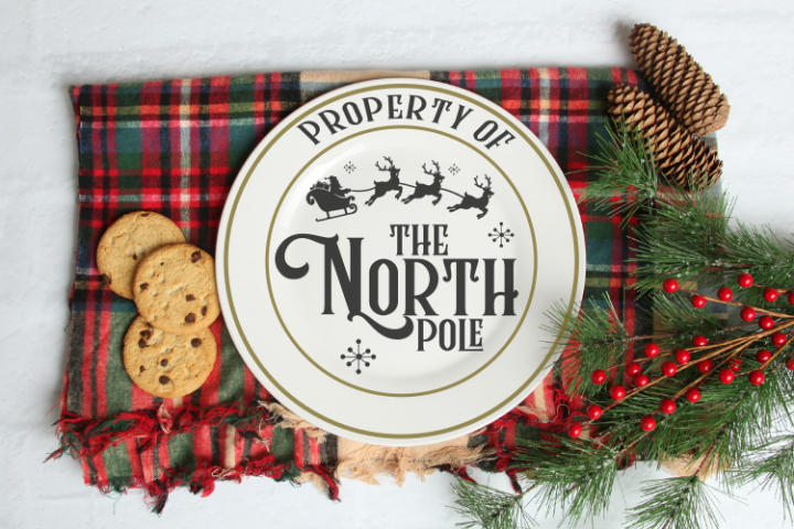 Property of the North pole Round plate svg cut file