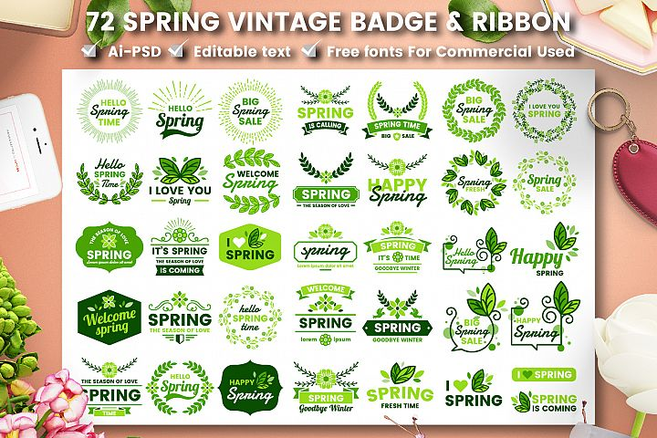 72 SPRING VINTAGE BADGE & RIBBON