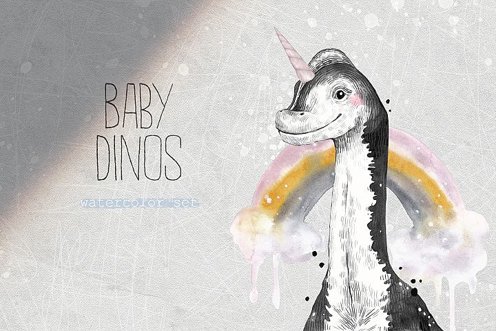 BABY DINOS watercolor set