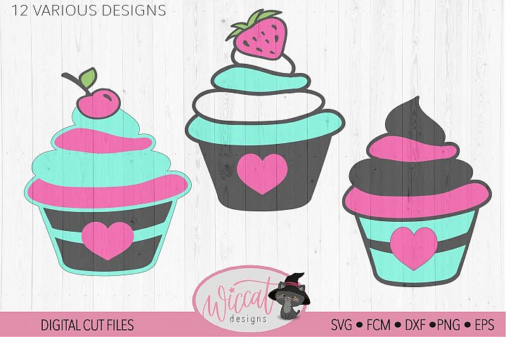 Cupcake svg, strawberry svg, baking svg, cherry cupcake svg