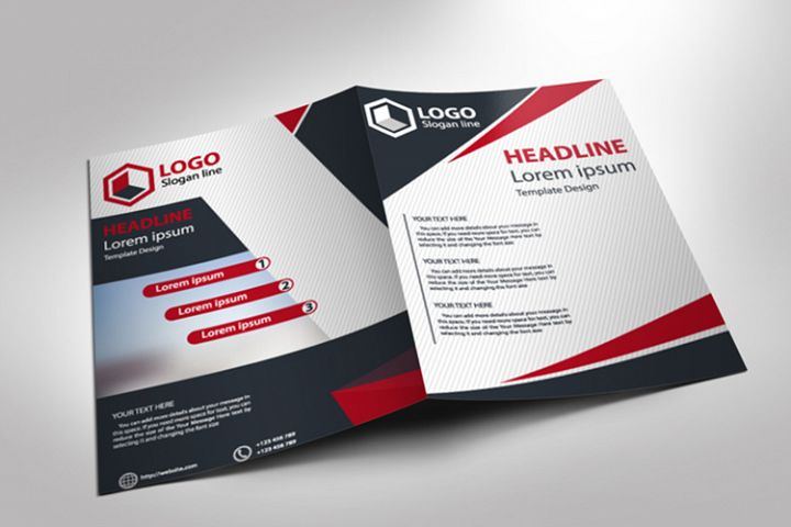 Corporative Business bi-fold Brochure Vector Template