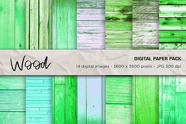 Wood Digital Papers, Green Wood Textures