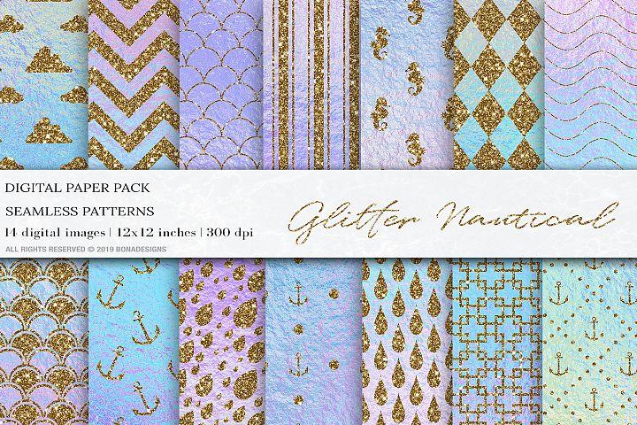 Glitter Nautical Iridescent Digital Papers, Nautical Pattern
