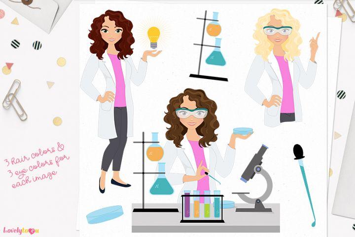 Scientist woman character clip art (L291 Dixie)