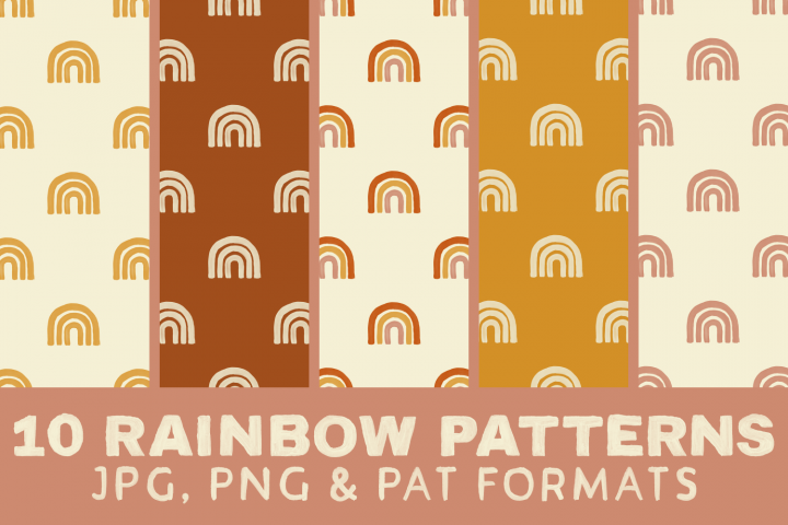 Rainbow Digital Paper Boho - Seamless Pattern Burnt Orange